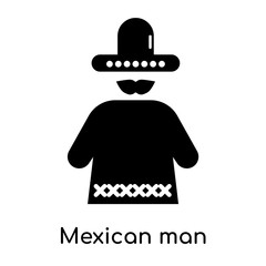 Mexican man icon isolated on white background
