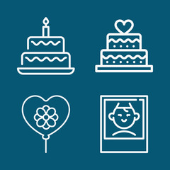 Set of 4 birthday outline icons