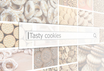 Visualization of the search bar on the background of a collage of many pictures with various sweets close up. Tasty cookies