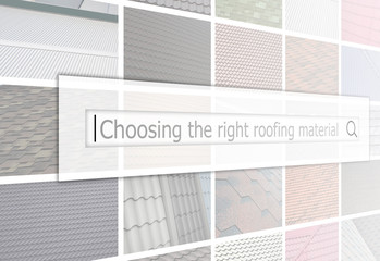 Visualization of the search bar on the background of a collage of many pictures with fragments of various types of roofing close up. Choosing the right roofing material