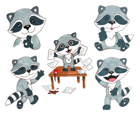 Hand drawn colorful illustration. Watercolor artwork set. Cute little raccoon shows gesture ok, thumbs up, hello or goodbye, laugh loudly, makes a mess, throws paper. Pictures for children.
