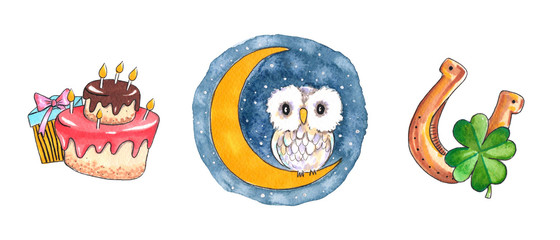 Hand drawn colorful illustration. Watercolor artwork set. Owl sits on half moon on night sky with stars. Cake and gift box for birthday. Golden horseshoe with four-leaf clover. Pictures for children.
