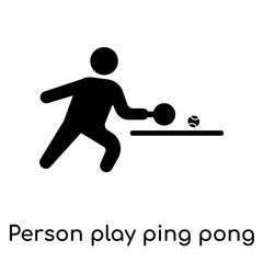 Person play ping pong icon isolated on white background