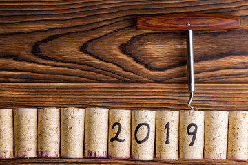 2019 New Year background with wine corks