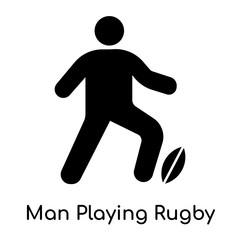 Man Playing Rugby icon isolated on white background