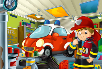 cartoon scene with fireman in garage near some vehicle - fireman car - or cleaning work place - illustration for children