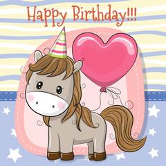 Cute Cartoon Horse with balloon