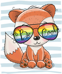 Cute Fox with sun glasses