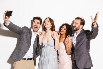 Group of happy well dressed multiracial people