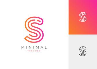 Minimal Line Letter Initial S Logo Design Template. Vector Logo Illustration