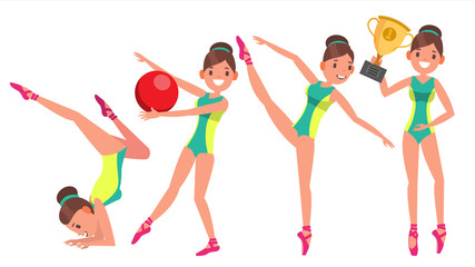 Gymnastics Female Player Vector. Gymnastic Tape, Hoop, Mace. Slim. Dance. In Action. Cartoon Character Illustration