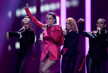 """Macedonia's Eye Cue performs """"Lost and Found"""" during the dress rehearsal of Semi-Final 1 for Eurovision Song Contest 2018at the Altice Arena hall in Lisbon"""