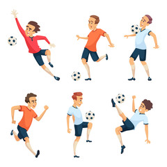 Soccer characters playing football. Isolated sport mascots isolate on white