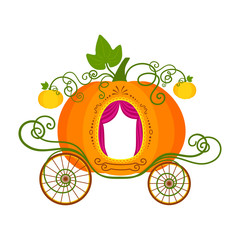 Vector illustration of pumpkin carriage isolated on white background