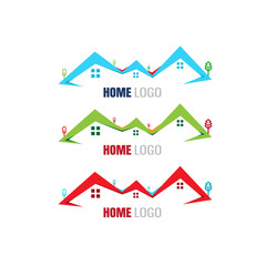 home buildings. Property Logo Template. vector. on white background. icon. blue. red. green