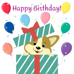 Cute cartoon puppy in cartoon style, peeking out of the gift box against the background of balloons. Happy Birthday. Flat, vector.