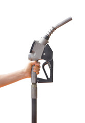 Head for the fuel pump with holding hand. Clipping path
