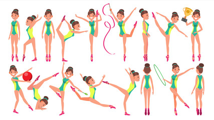 Gymnastics Female Player Vector. Gymnastic Hoop. Demonstrate. Presentation. Playing In Different Poses. Woman. Athlete Isolated On White Cartoon Character Illustration