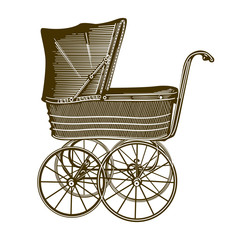 Illustration of a retro baby-carriage. Sepia
