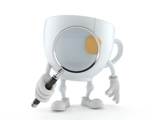 Tea cup character looking through magnifying glass