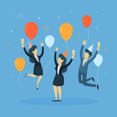 Business people celebrating.