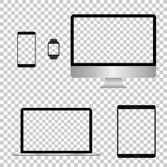 Mockup set realistic Monitors laptop tablet and phone vector illustration