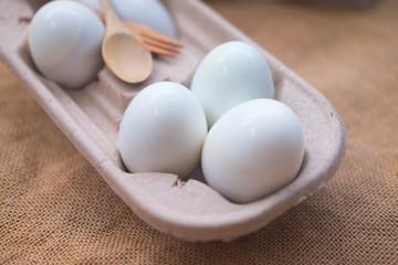 White eggs in carton container
