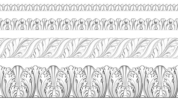 Set vector classic floral  border, moldings from plaster.