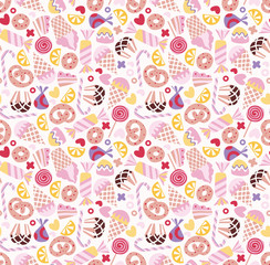 Sweets seamless doodle pattern