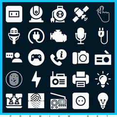 Set of 25 technology filled icons