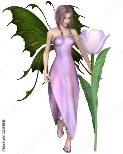 """Pink Haired Tulip Fairy with Flower - fantasy illustration"" Stock photo and royalty-free images on Fotolia.com - Pic 203941925"