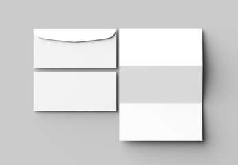 Envelope and letter mock up isolated on soft gray background. 3D illustrating. Wall mural