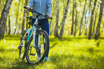 cyclist riding mountain bike in the forest