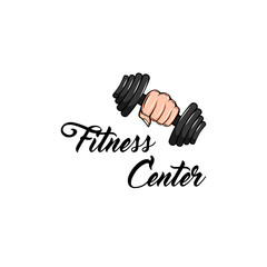 Dumbbell icon. Fist. Fitness club label. Sport badge. Fitness center emblem logo. Hand holding weight. Vector.
