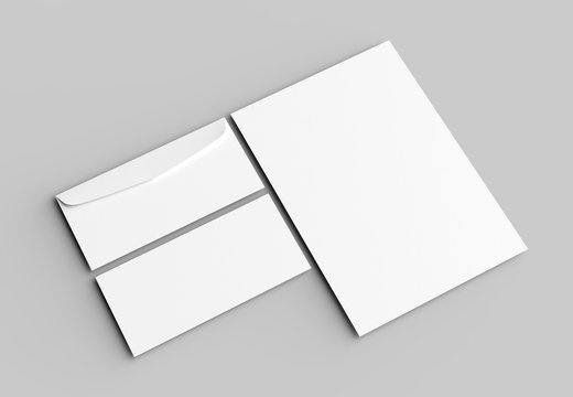 Envelope and letter mock up isolated on soft gray background. 3D illustrating.