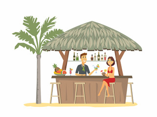 Woman at the beach bar - cartoon people character isolated illustration