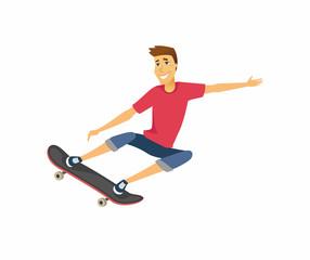 Boy on skateboard - cartoon people character isolated illustration