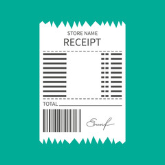 Human Hand holding grocery shopping receipt isolated on blue background,vector illustration.