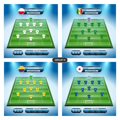 Soccer team player plan. Group H with flags POLAND, SENEGAL, COLOMBIA, JAPAN.