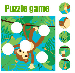 Puzzle for toddlers. Match pieces and complete the picture. Educational game for pre school years kids. Animals theme