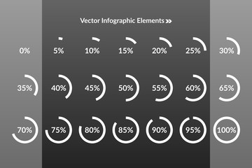 0 5 10 15 20 25 30 35 40 45 50 55 60 65 70 75 80 85 90 95 100 percent pie chart symbols. Percentage vector infographics. Illustration for business, marketing project, web design, download icons