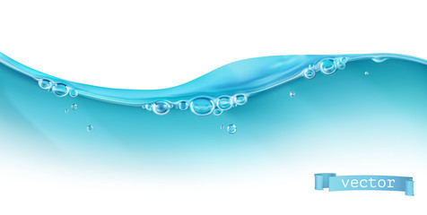Wave of water and bubbles, 3d vector