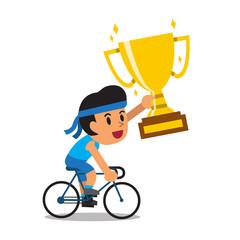 Vector cartoon sport man riding bike and holding big gold trophy cup award