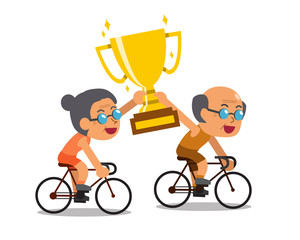 Vector cartoon sport senior couple riding bikes and holding big gold trophy cup award