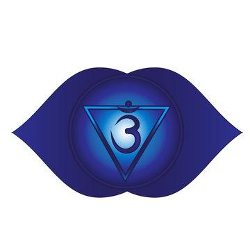 Ajna. Sixth, heart chakra symbol
