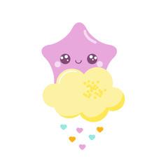 Cute kawaii star with baby shower cloud