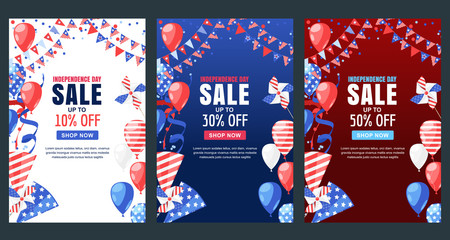 USA Independence Day. Sale vector banner. Holiday background with flag, air balloons, fireworks. 4 of July celebration