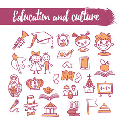 Outline sketched icons set - education and culture. Line art. Pencil drawing. Vector illustration. Doodle set.