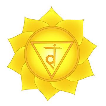 manipura. Solar plexus, third chakra symbol
