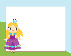 Princess frame design template for photos, children diplomas, kids certificate, invitations, scrapbook and etc